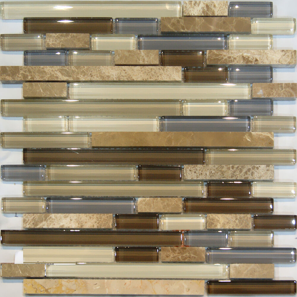 Sample-Marble Stone & Brown Beige Cream Linear Glass Mosaic Tile Backsplash Sink