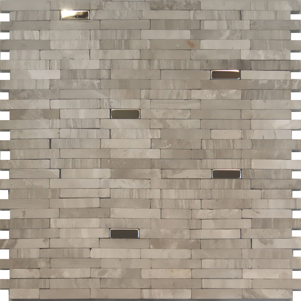 10SF-Stainless Steel Insert Gray Marble Stone Mosaic Tile