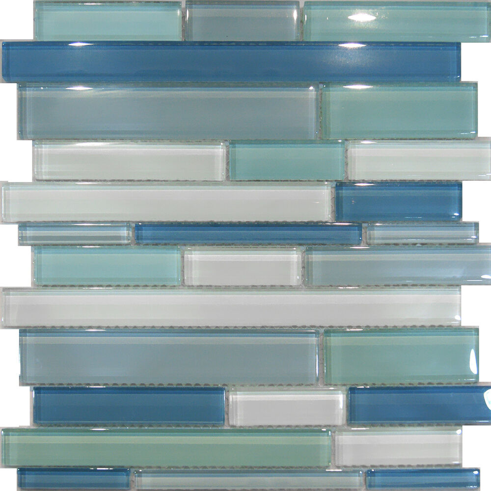 Kitchen Tiles Ebay: 10SF-Blue Random Linear Glass Mosaic Tile Backsplash Kitchen Sink Wall Faucet