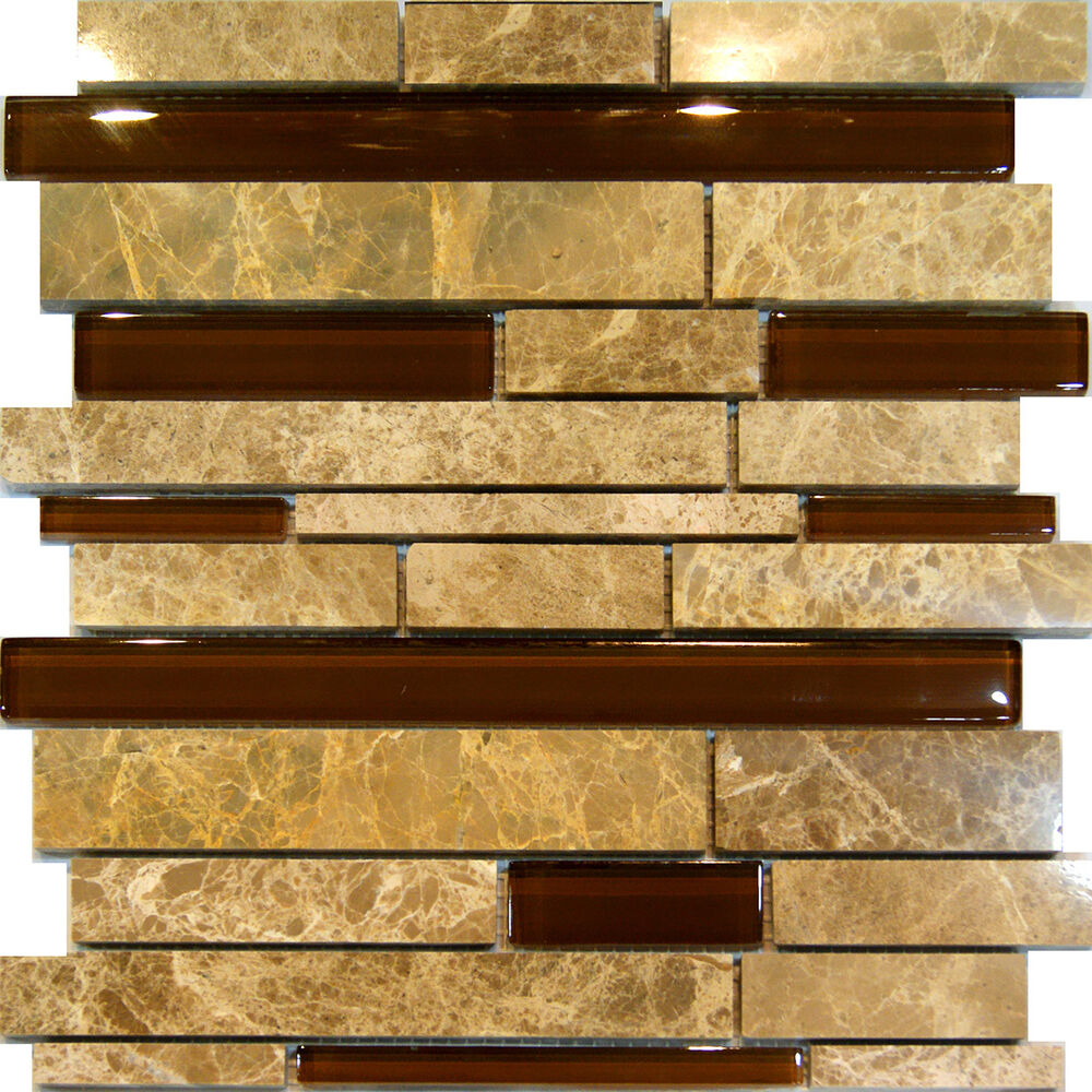 Sample Marble Green Brown Glass Linear Mosaic Tile: 10SF-Brown Beige Marble Stone & Glass Random Linear Mosaic