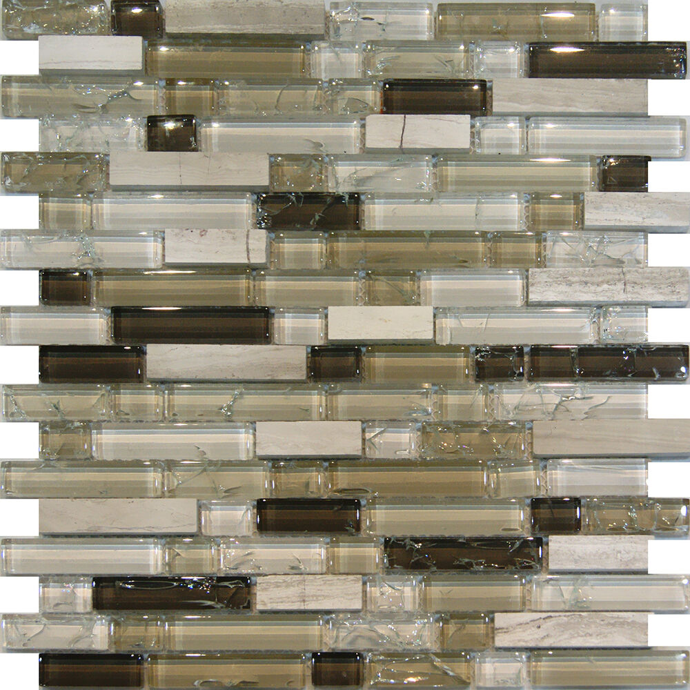 10sf Wooden Gray Marble Stone Glass Brown Crackle Mosaic Tile Backsplash Sink Ebay