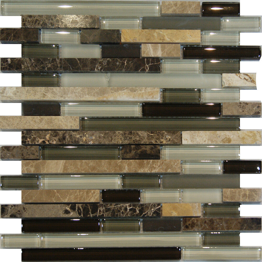 Kitchen Backsplash Rock: 10SF-Marble Stone Green Brown White Glass Linear Mosaic