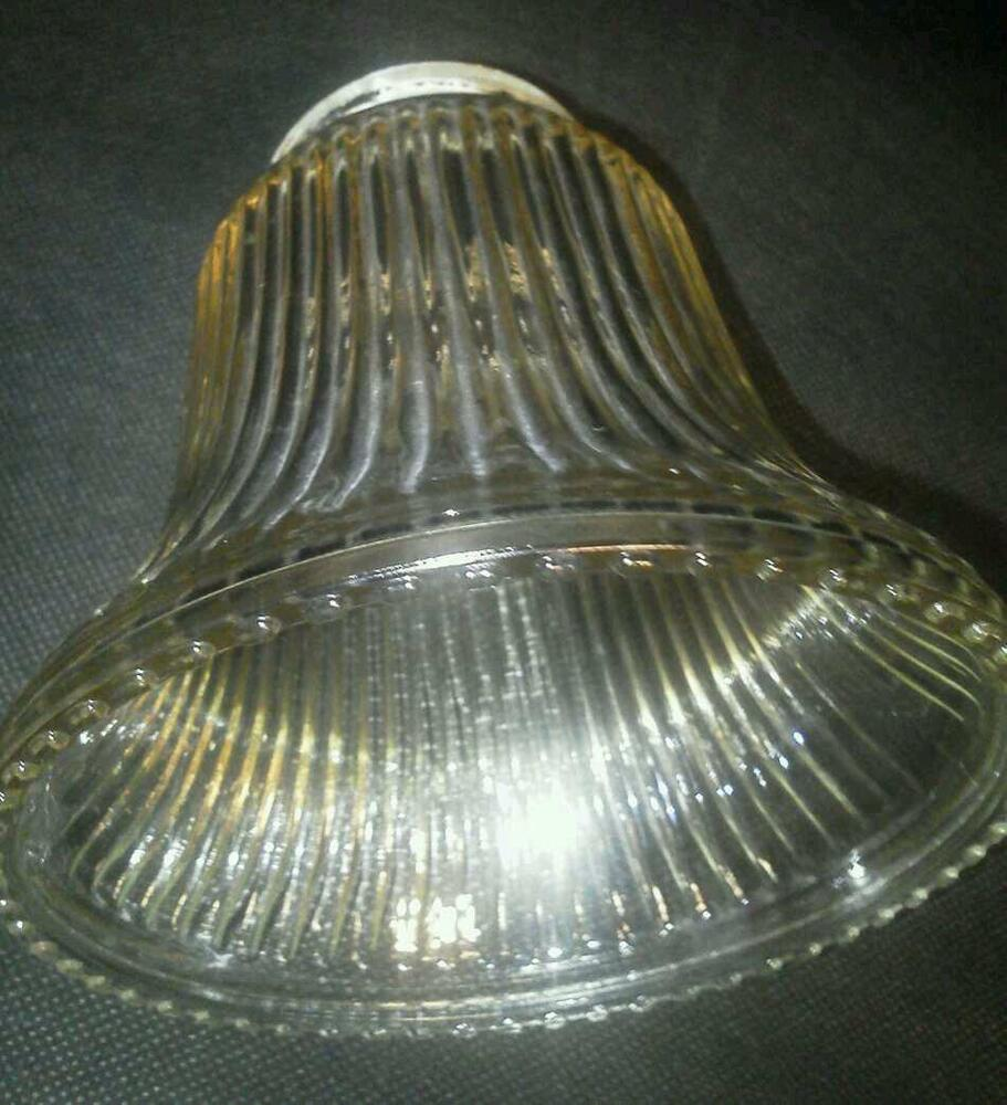 Vtg glass light shades 3 amber replacement fluted for 10 inch reflector floor lamp globe glass