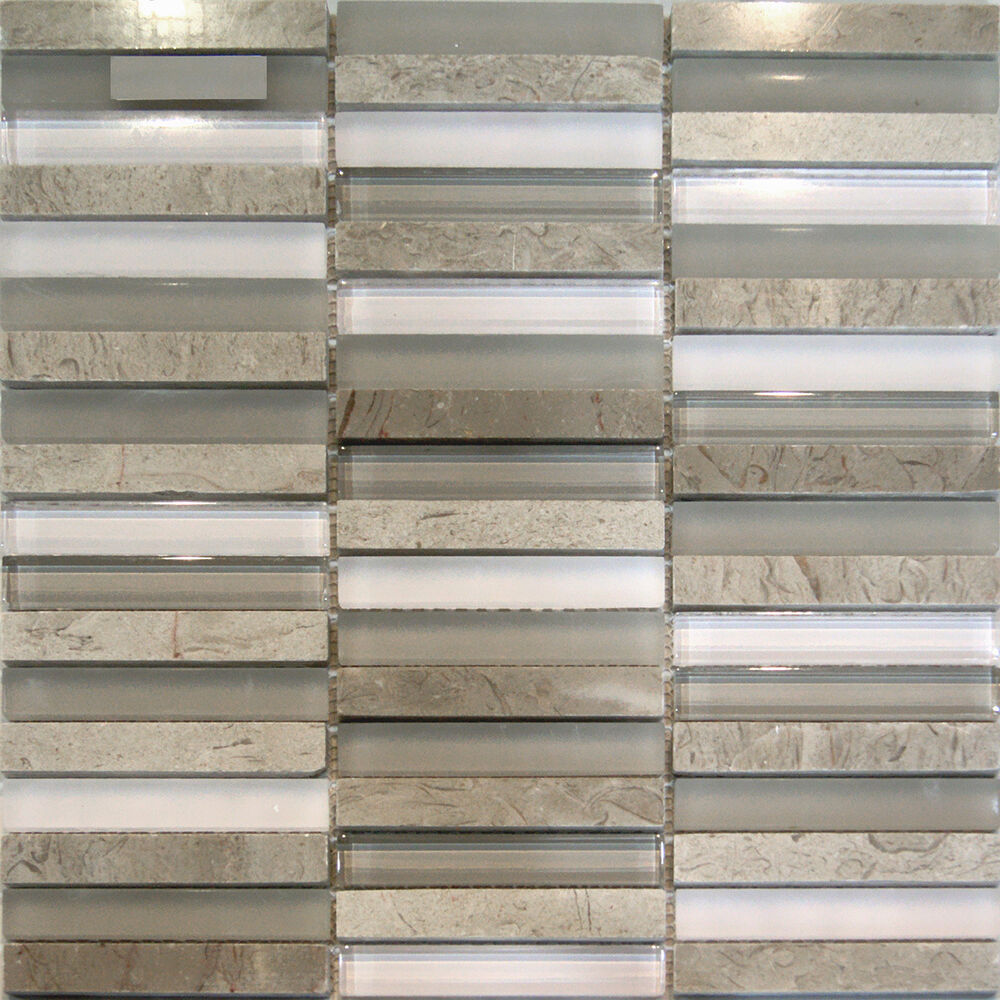 Kitchen Tiles Ebay: 1SF-Wooden Grey Marble & Glass Mosaic Tile Backsplash Kitchen Spa Sink Wall Spa