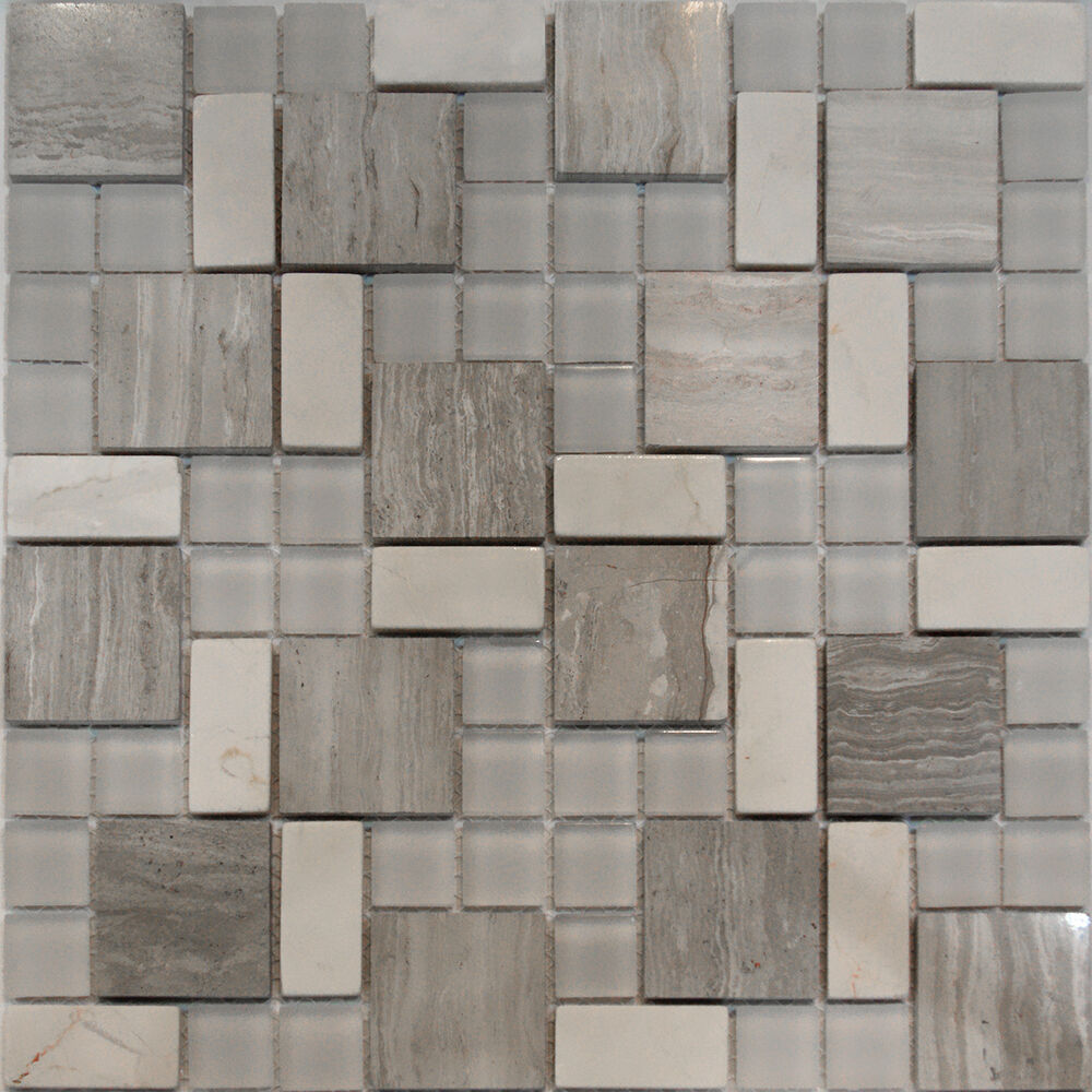 square pattern wooden gray marble stone glass mosaic tile backsplash