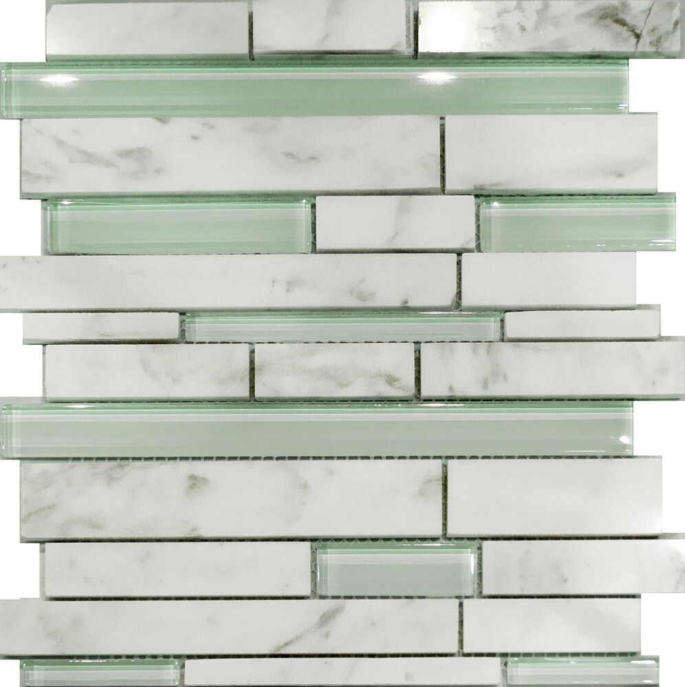 1sf Carrara White Marble Amp Mint Glass Random Linear Mosaic