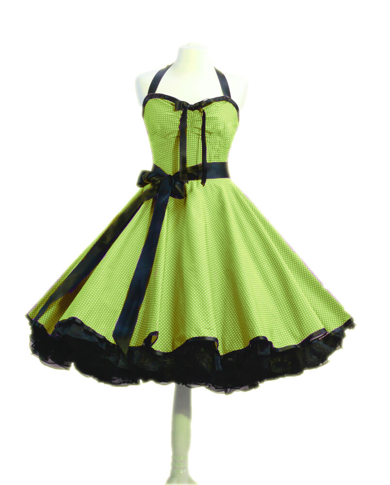rockabilly kleid petticoat punktekleid 50er 60er jahre stil rockabillymode ebay. Black Bedroom Furniture Sets. Home Design Ideas