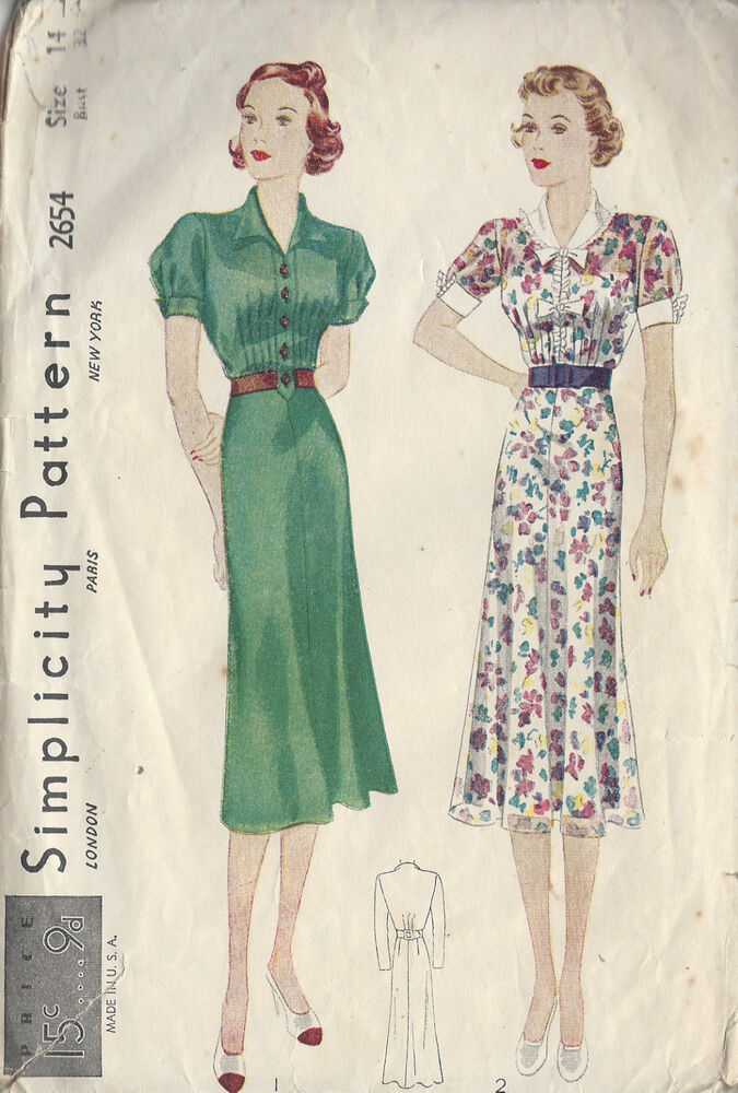 "1930s Vintage Sewing Pattern DRESS B32"" (R586) 
