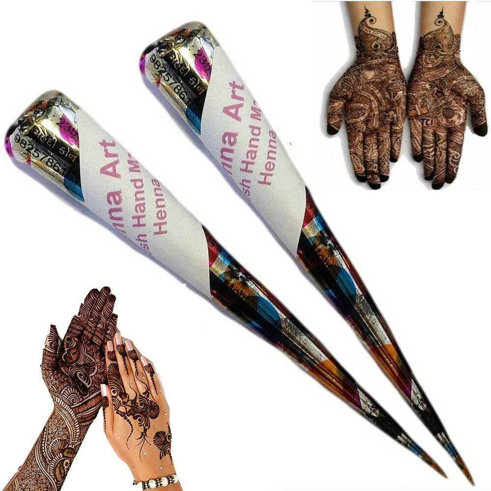 Henna mehndi tattoo kit cones fresh hand made henna pen ebay for Tattoo pen kit