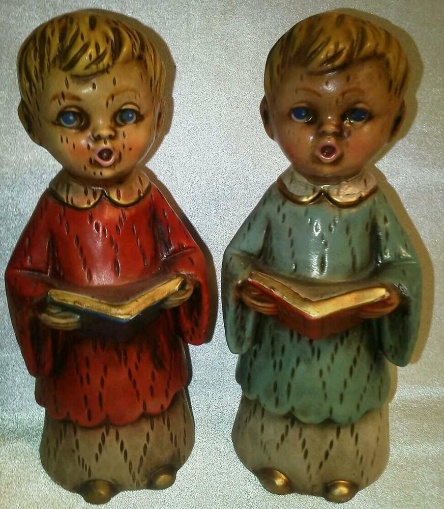 Singing Carolers Candleholders Figurines Vintage By: Vtg Choir Boy Figurines * Mid Century * Christmas Carolers