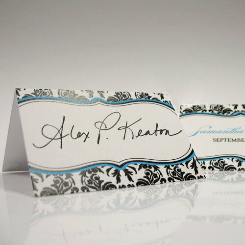 24 personalized love bird damask wedding place cards ebay for Personalized wedding place cards