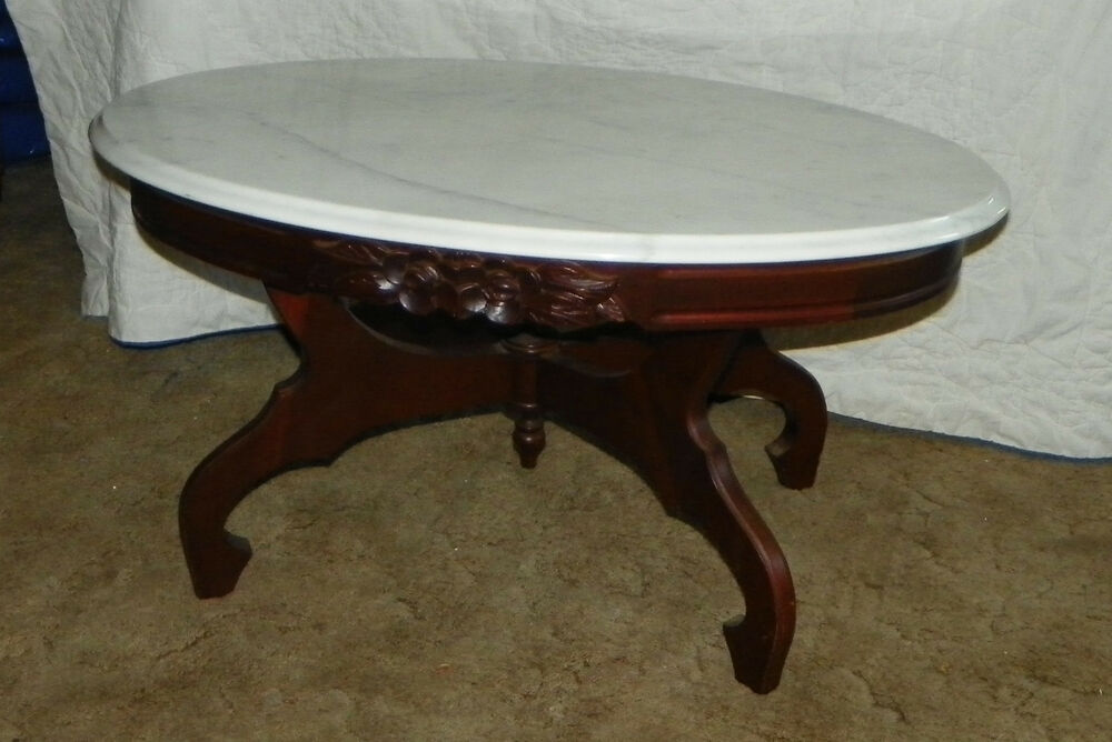 mahogany oval coffee table oval marble top mahogany carved coffee table ct12 ebay 7324