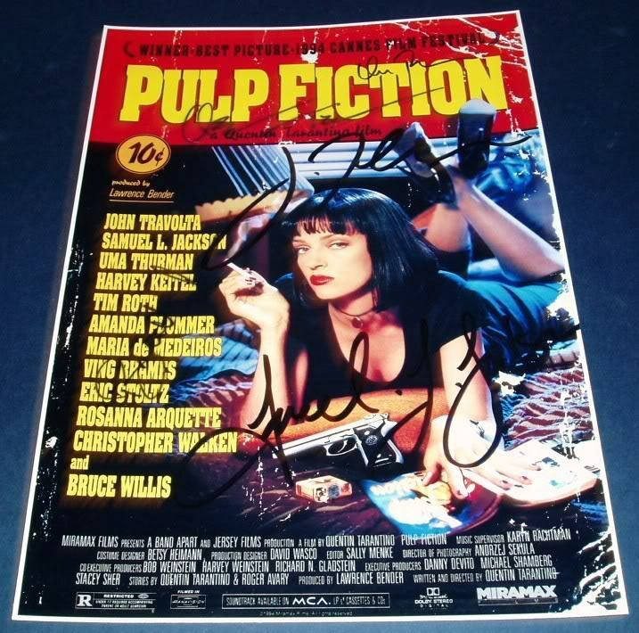 pulp fiction cast x5 pp signed poster 12x8 tarntino ebay