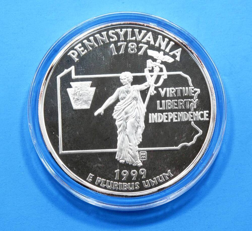 1999 Pennsylvania 2oz Silver State Quarter Giant Proof