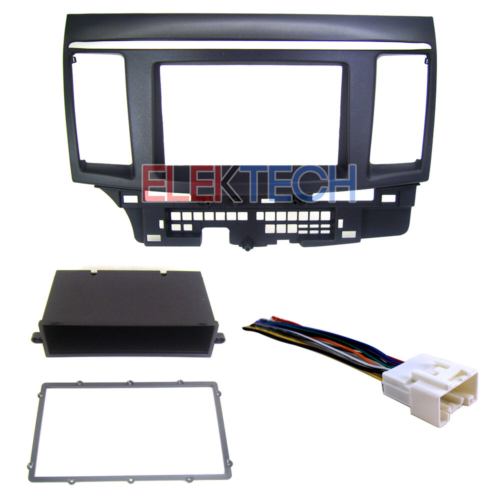 Radio Dash Kit With Wire Harness Double Din Pocket For Select Mitsubishi Lancer