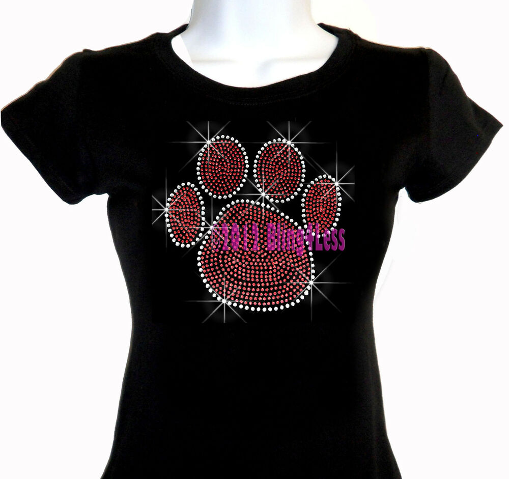 Large red paw print iron on rhinestone t shirt pick size s for Best place to get t shirts printed