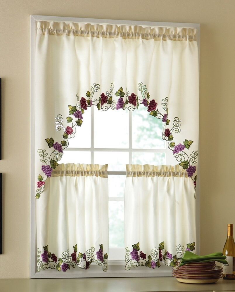 Tuscan Decor Grapevine And Grapes Kitchen Window Curtains Set New Ebay