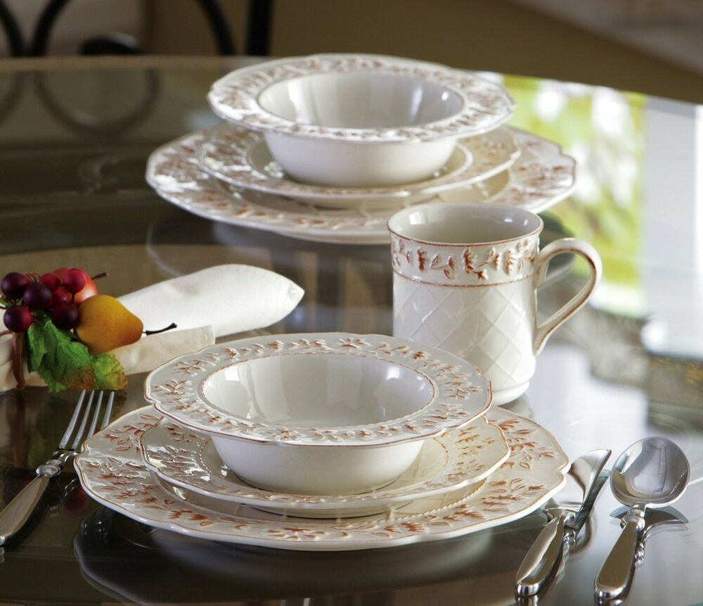 Old World Tuscan Decor Grapevine Ceramic Dinnerware Set