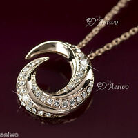 18K ROSE GOLD GF MADE WITH SWAROVSKI CRYSTAL PENDANT NECKLACE WEDDING PARTY