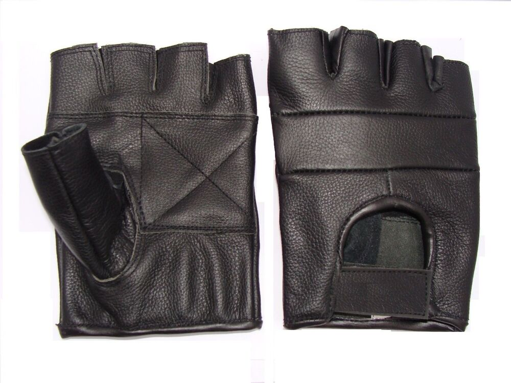Leather Fingerless gloves motorcycle motorbike Driving ...