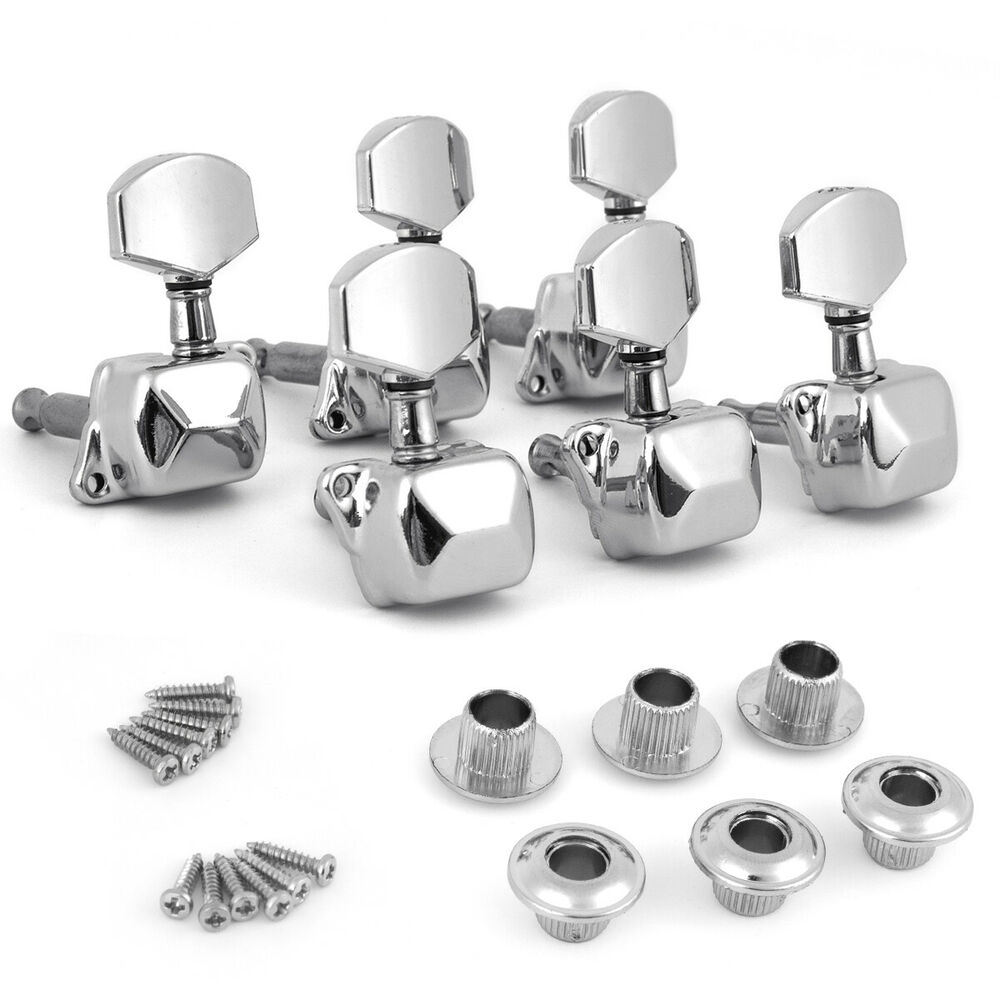 chrome acoustic guitar string semiclosed tuning pegs machine heads tuners 3x3 ebay. Black Bedroom Furniture Sets. Home Design Ideas