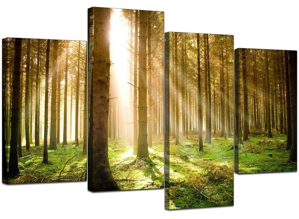 Extra Large Green Trees Canvas Wall Art Pictures 130cm ...