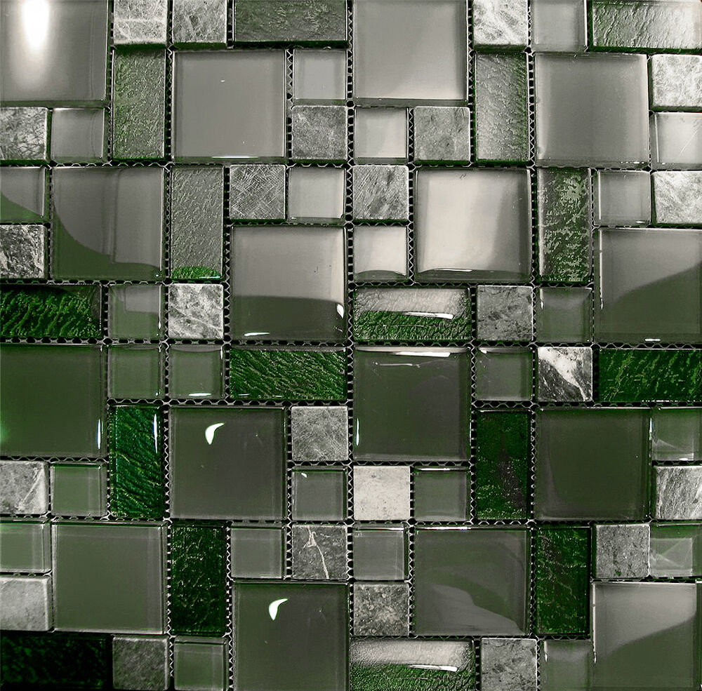 1sf Marble Green Crystal Glass Pattern Mosaic Kitchen