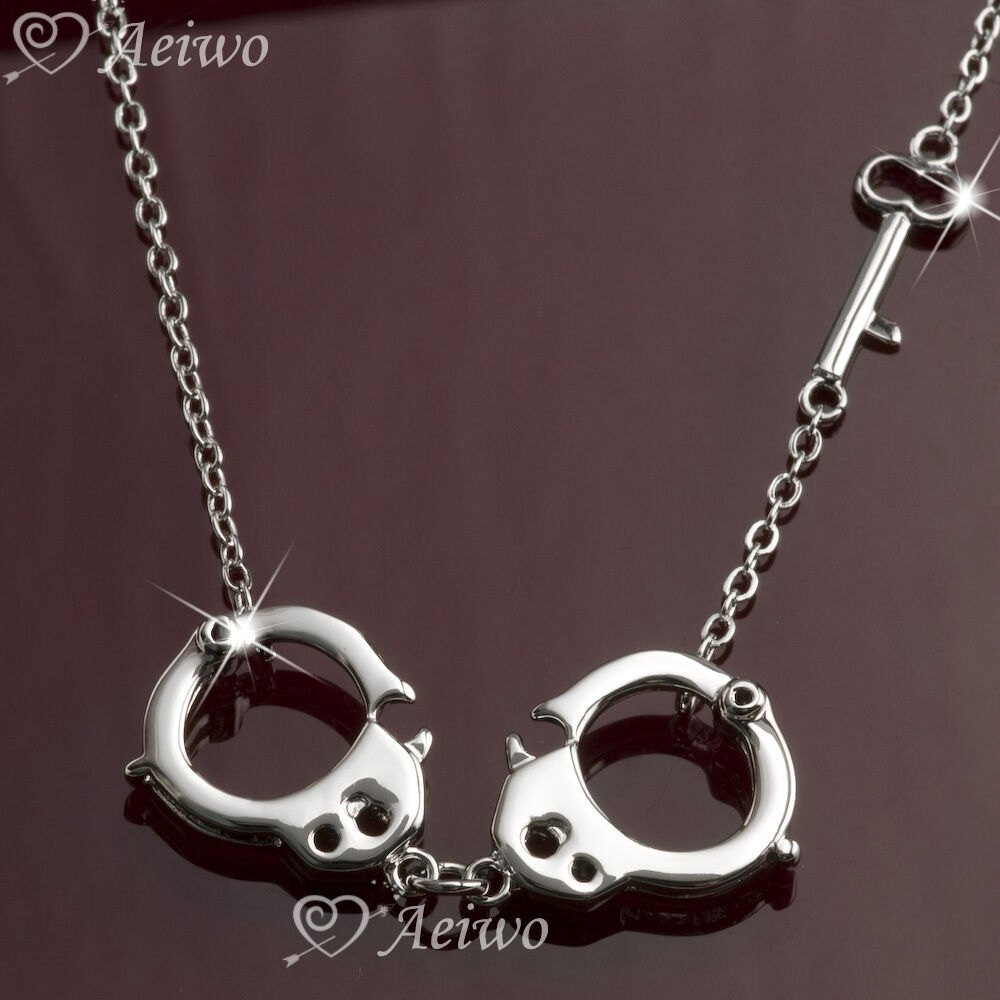 Handcuff Necklace Gold: PENDANT NECKLACE 9K GF 9CT WHITE GOLD FILLED HANDCUFF KEY