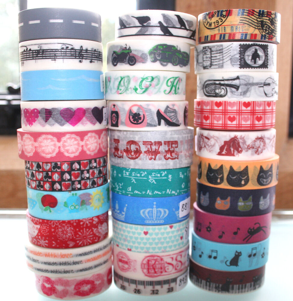 washi tape 15mm x 10 m roll decorative sticky paper masking tape adhesive gift ebay. Black Bedroom Furniture Sets. Home Design Ideas