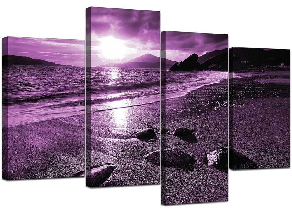 large purple landscape canvas wall art pictures xl 130cm prints 4077 ebay. Black Bedroom Furniture Sets. Home Design Ideas
