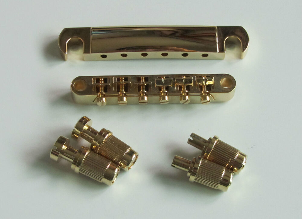 gold electric guitar tune o matic bridge and tailpiece for lp les paul ebay. Black Bedroom Furniture Sets. Home Design Ideas