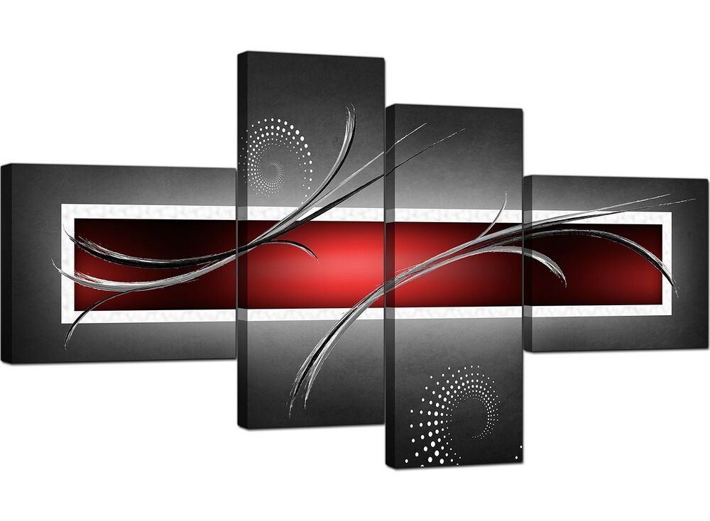 Red Black And Gray Wall Decor: Large Red Black Grey Abstract Canvas Pictures 160cm XL