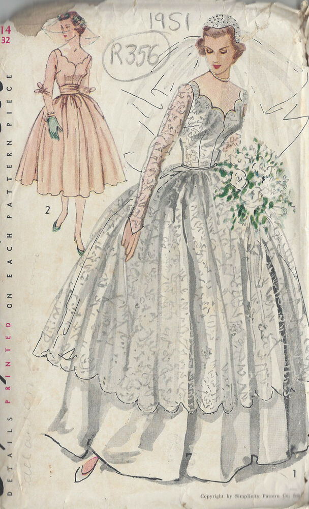 1951 vintage sewing pattern b32 wedding dress for Wedding dress patterns vintage