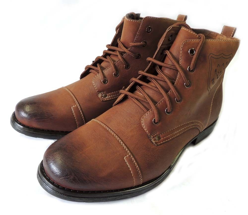 new mens ankle boots combat style leather lined