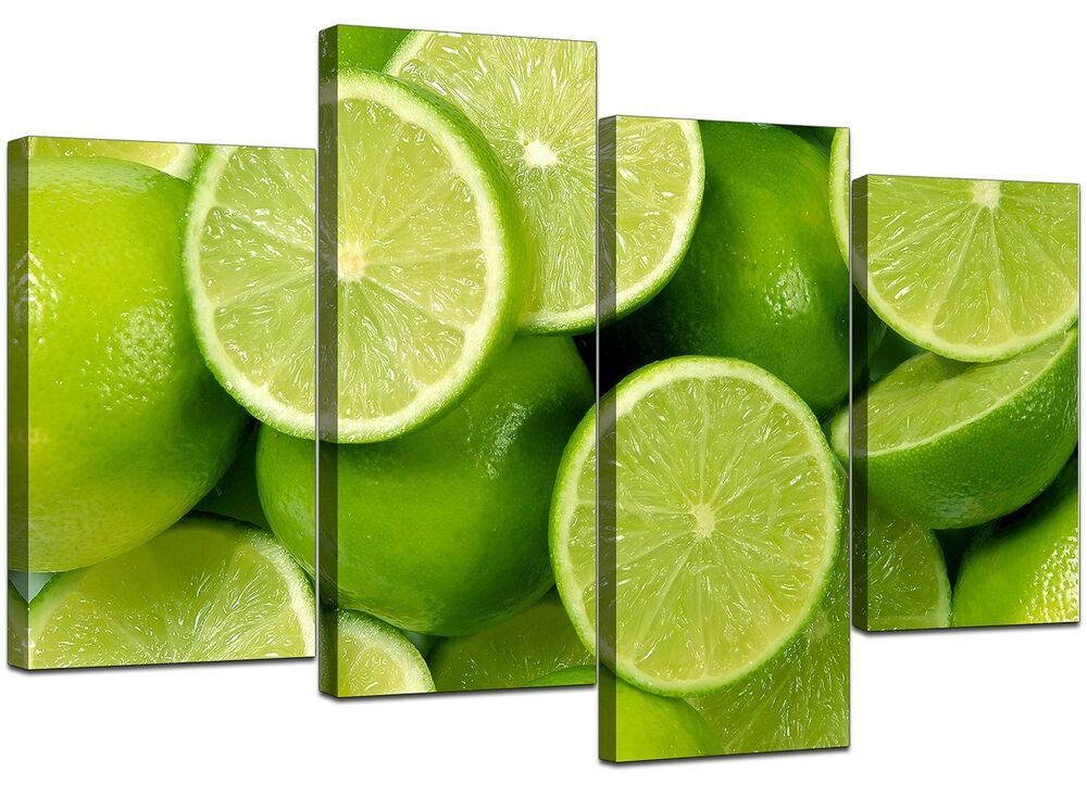 Kitchen Canvas Wall Art Pictures Lime Green Prints Xl Set 4113 5060327321139
