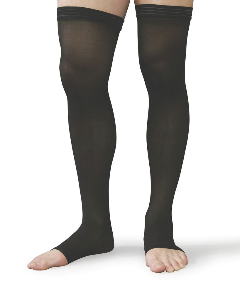 Thigh High Compression Stockings 30-40 Beige/Black ALL SIZES Open or Closed  Toe - Compression Stockings 30-40 EBay