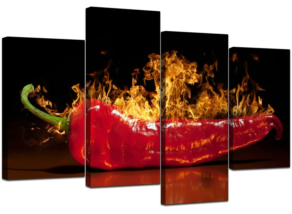 Large red chilli kitchen canvas wall art pictures 130cm for Red kitchen wall art