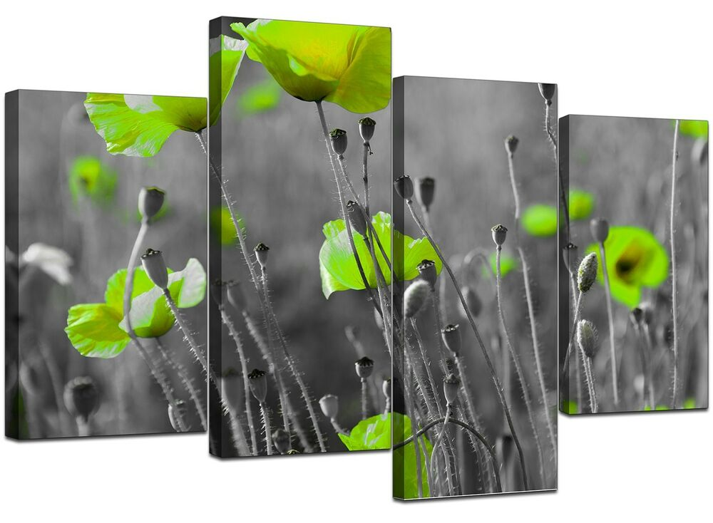 Large lime green flowers floral kitchen canvas wall art for Lime green wall art