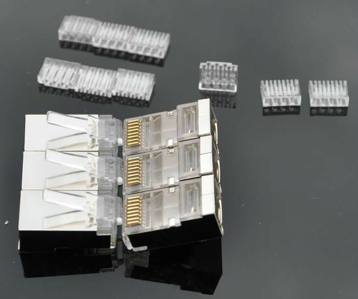 50 pcs cat5e rj45 modular plugs shielded ver included. Black Bedroom Furniture Sets. Home Design Ideas