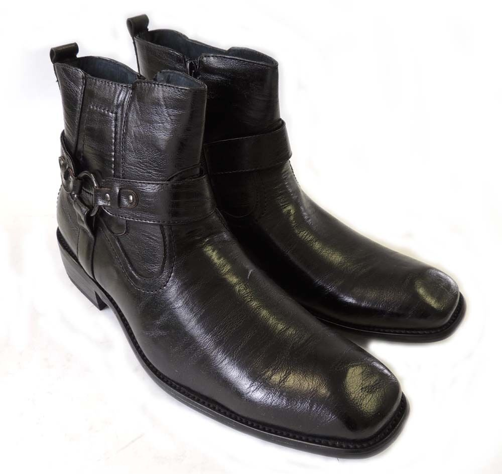 new mens stylish ankle boots leather zippered buckle