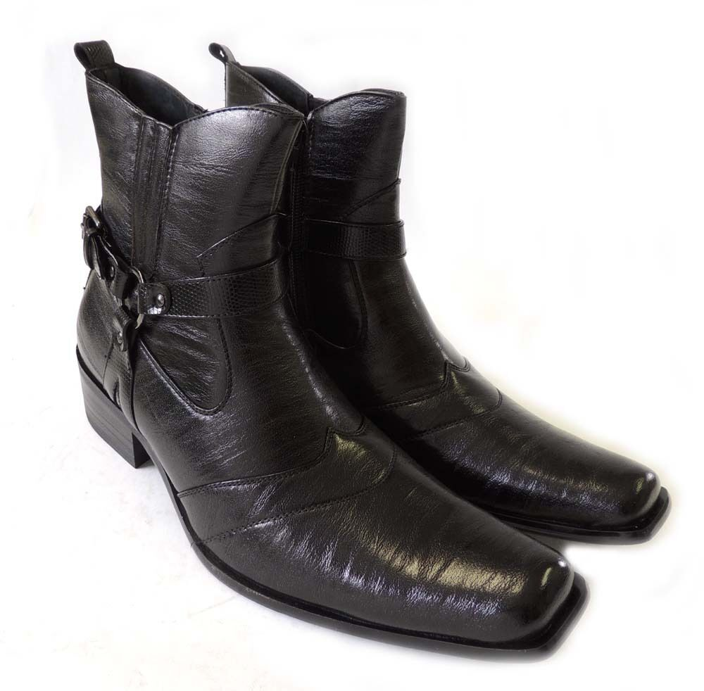 new premium casual mens high ankle boots leather zippered