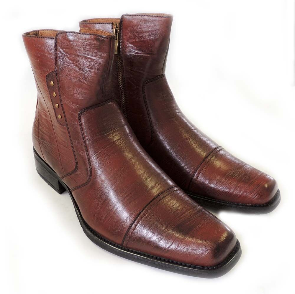NEW MENS VINTAGE DRESS ANKLE BOOTS WESTERN COWBOY ZIPPERED LEATHER ...