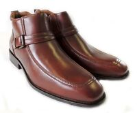 NEW MENS ANKLE BOOTS BUCKLE DESIGN TAPERED FRONT ZIPPER LEATHER SHOES / Brown