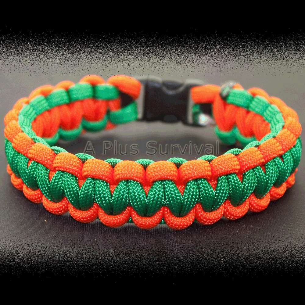 neon orange green paracord rope survival
