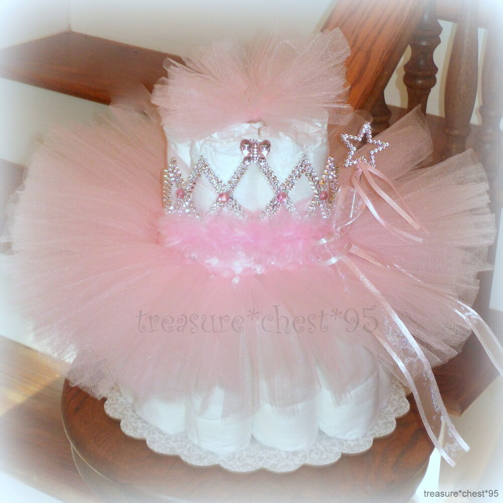Tutu diaper cake baby shower centerpiece pink girl