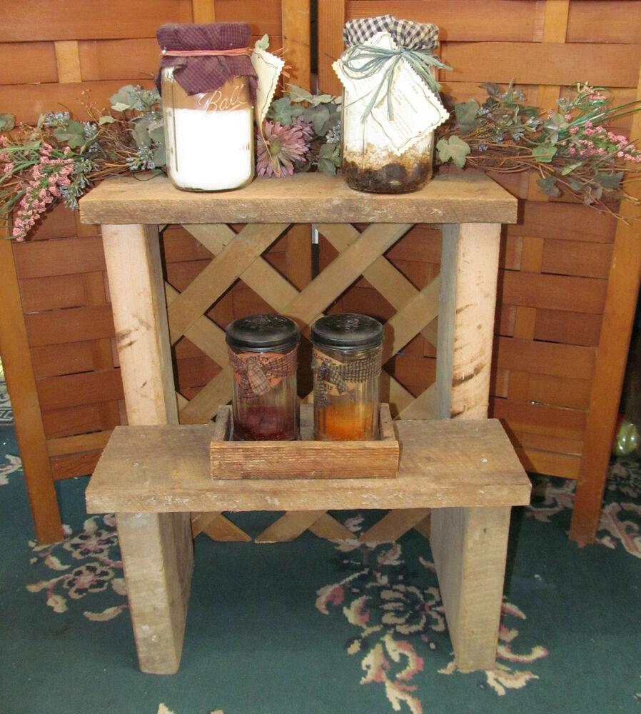 Old Reclaimed Barn Wood Rustic Step Stool Shelf Patio