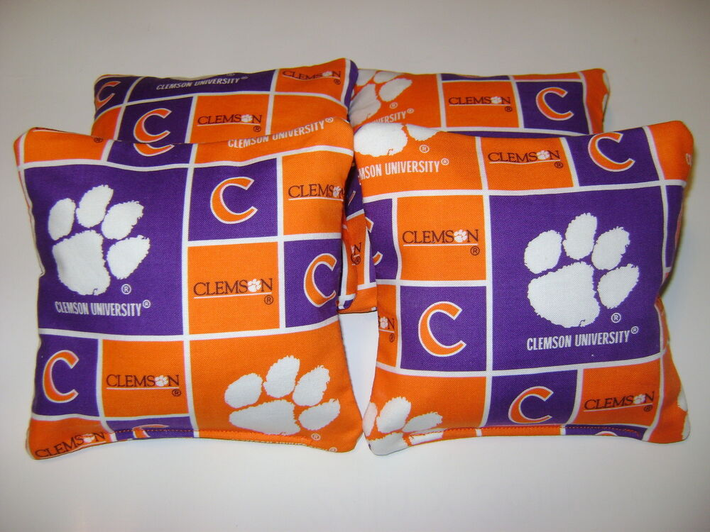 4 CORNHOLE CLEMSON TIGERS BEAN BAG CORN HOLE BAGGO