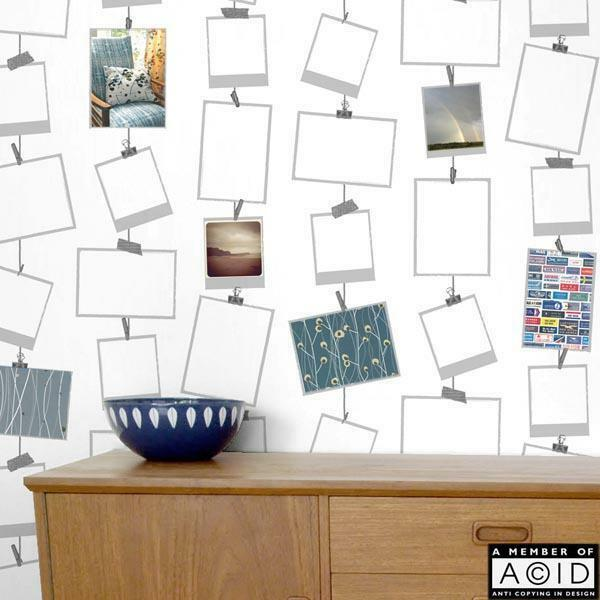 39 snapz 39 picture frames wallpaper photo frame wallpaper polaroid display paper ebay. Black Bedroom Furniture Sets. Home Design Ideas
