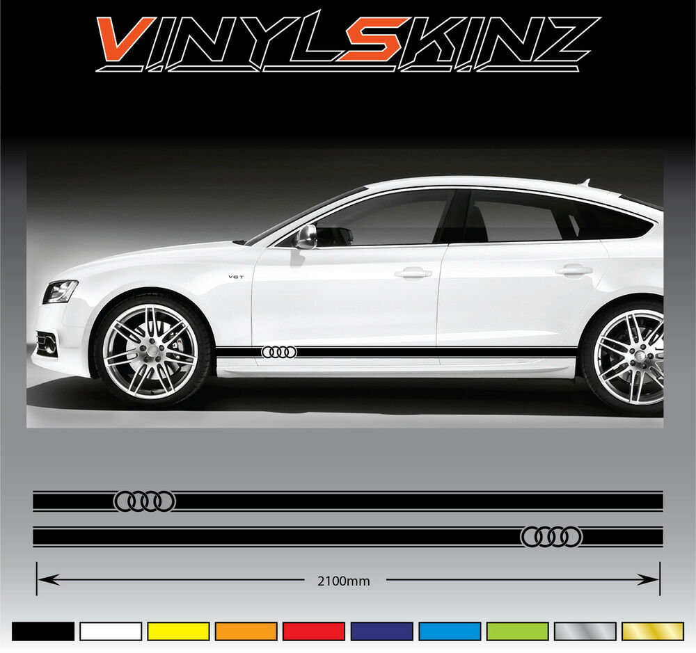 AUDI Rings Premium Side Stripes Decals Graphics Stickers