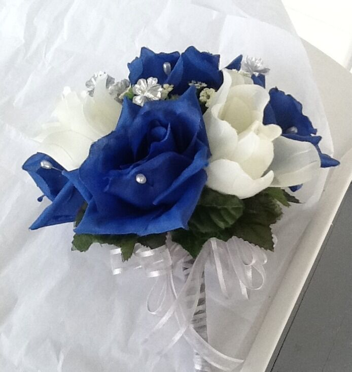 Royal Blue And Ivory Wedding Bouquets : Bridal throw away bouquet royal blue ivory and silver